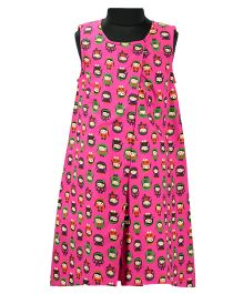 Pixi Lovely Doll Print Shift Dress - Fuchsia Pink