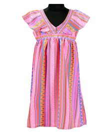Pixi Vibrant Flutter Sleeve A-Line Dress - Multicolour