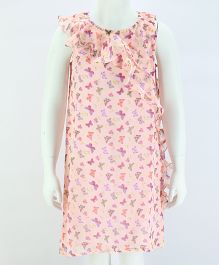 Pixi Delicate Butterfly Ruffled Shift Dress - Baby Pink