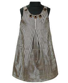Pixi Glittery Trellis Pattern Shift Dress - Black & Gold