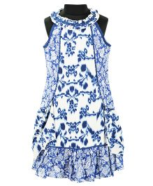 Pixi Smart Casual Shift Dress - White & Blue