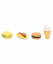 Bakery Food And ice Cream Shape Eraser Set Of 4 - Multi Color