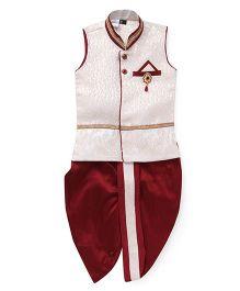 Babyhug Sleeveless Ethnic Kurta With Broach And Dhoti Set - Off White Red