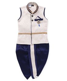 Babyhug Sleeveless Ethnic Kurta With Broach And Dhoti Set - Off White Navy