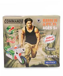 Commando Build N Play Motorcycle Green And Red - 17 Pieces