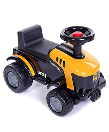 JCB Manual Push Tractor Ride On - Yellow