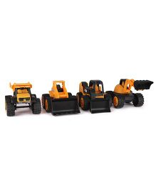 JCB Construction Team Pack Of 4 - Yellow