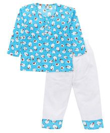 Frangipani Kids Dreamland Sheep Printed Night Suit - Blue & White