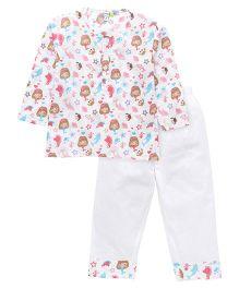 Frangipani Kids Under The Sea Print Night Suit - Peach