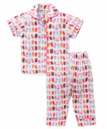 Frangipani Kids Popsicle Party Print Night Suit - Pink