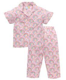 Frangipani Kids Rainbow Skies Print Night Suit - Pink