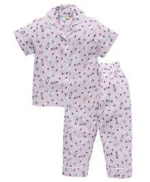 Frangipani Kids Candy Land Print Night Suit - Pink