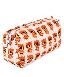 Frangipani Kids Tiger Print Toiletry Bag - Orange