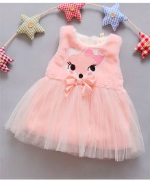 Dazzling Dolls Cartoon Applique Dress With Bow - Pink
