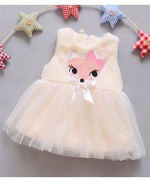 Dazzling Dolls Cartoon Applique Dress With Bow - Beige