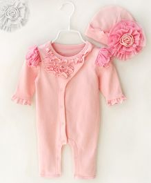 Dazzling Dolls Cap Set With Lace Trimmings Romper - Pink