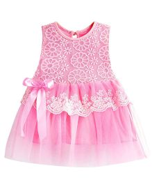Dazzling Dolls Embroidered Lace Party Dress - Pink