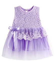 Dazzling Dolls Embroidered Lace Party Dress - Purple