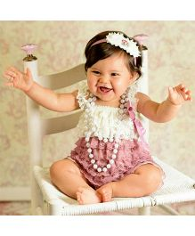Dazzling Dolls Lace Onesie Style Dress & Head Band Set - Dusty Rose