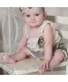 Dazzling Dolls Lace Onesie Style Dress & Head Band Set -Grey