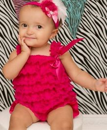 Dazzling Dolls Lace Romper Style Dress & Head Band Set - Fuschia