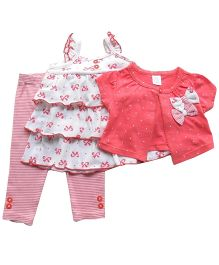 Dazzling Dolls 3 Piece Layered Dress, Shrug & Leggings Set - Pink