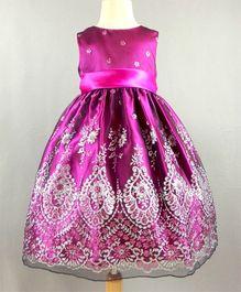 Dazzling Dolls Exclusive Party Dress With Motifs - Dark Pink