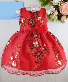Dazzling Dolls Sequenced Embroidered Party Dress - Red