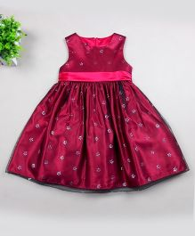 Dazzling Dolls Elegant Party Dress With Delicate Motif - Red