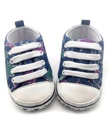 Dazzling Dolls Stars With Lining Baby Lace Shoes - Dark Blue