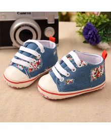 Dazzling Dolls Ripped Floral Print Baby Lace Shoes - Blue