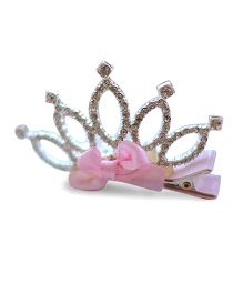 Little Miss Cuttie Rhinestone Crown Hair Clip - Pink