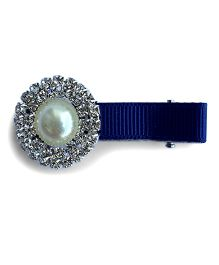 Little Miss Cuttie Trendy Pearl & Diamond Embellished Hair Clip - Blue