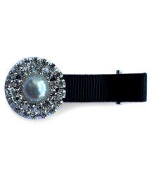 Little Miss Cuttie Trendy Pearl & Diamond Embellished Hair Clip - Black