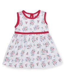 Babyhug Sleeveless Frock Floral Print - White Dark Pink