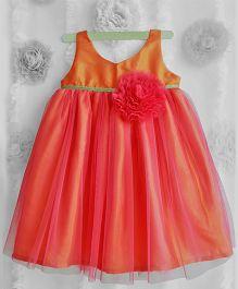 Many Frocks Flower Applique Net Frilled Dress - Orange & Rose Pink