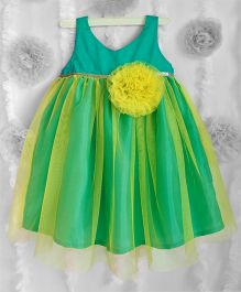 Many Frocks Flower Applique Net Frilled Dress - Lime Yellow & Green