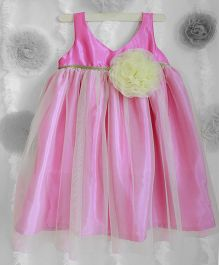 Many Frocks Flower Applique Net Frilled Dress - Pink & Light Yellow