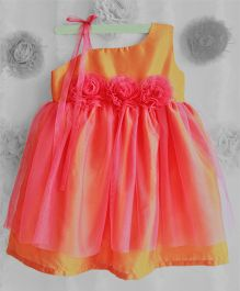 Many Frocks One Shoulder Frilled Dress With Flower Applique - Orange & Rose Pink