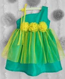 Many Frocks One Shoulder Frilled Dress With Flower Applique - Green & Lime Yellow