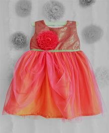 Many Frocks Shimmer Flower Applique Frilled Dress - Orange & Rose Pink