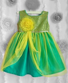 Many Frocks Shimmer Flower Applique Frilled Dress - Lime Yellow & Green