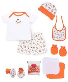 Mee Mee Clothing Gift Set Pack Of 9 - Orange & White