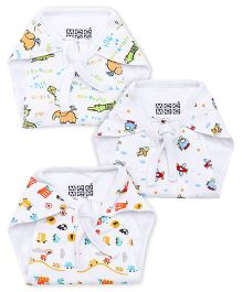 Mee Mee String Tie Up Cloth Nappy Printed Small Pack Of 3 - White & Multicolor