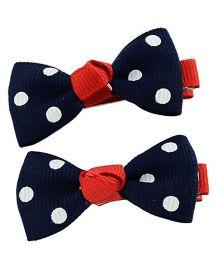 Angel Closet Polka Dots Hair Clips Pack Of 2 - Navy Blue