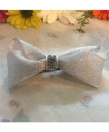 Angel Closet Glitter Bow Clip - Silver