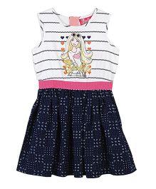 Barbie Sleeveless Frock Stripes Print - White Blue