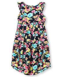 Barbie Sleeveless Frock Floral Print - Navy Blue