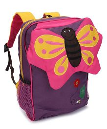 My Milestones Kids Backpack Butterfly Design Purple - Height 13 Inches