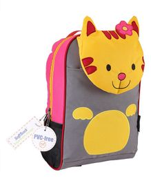 My Milestones Kids Backpack Cat Design Orange Yellow - Height 13 Inches